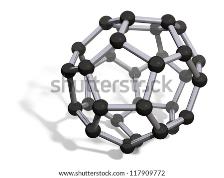 3d render of C32 carbon fullerene with soft shadow isolated on white - stock photo