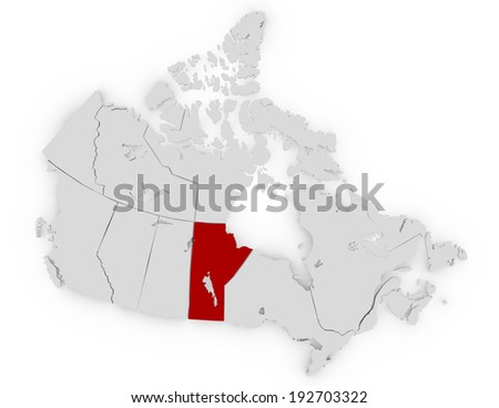 3d Render of Canada Highlighting Manitoba - stock photo