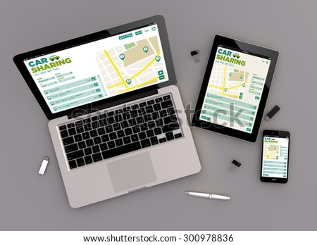 3d render of car sharing responsive devices with laptop computer, tablet pc and touchscreen smartphone. Zenith view. All screen graphics are made up. - stock photo