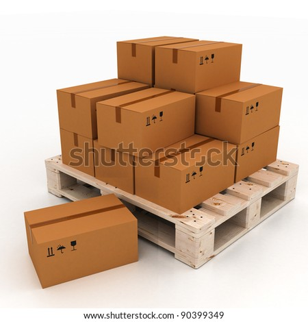 3d render of cardboard boxes on pallet on white - stock photo