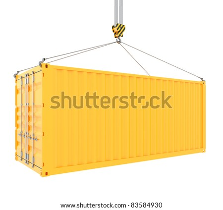 3d render of cargo container with hook isolated on white - stock photo
