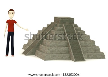 3d render of cartoon characer with pyramide - stock photo