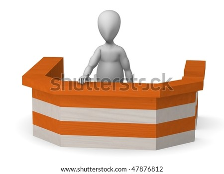 3d render of cartoon character behind bar