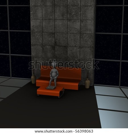 3d render of cartoon character in waiting room