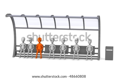 3d render of cartoon character on bus stop