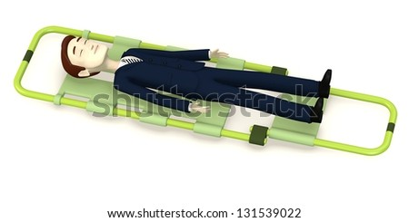 3d render of cartoon character on stretcher