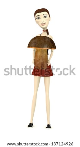 3d render of cartoon character with boletus erytropus