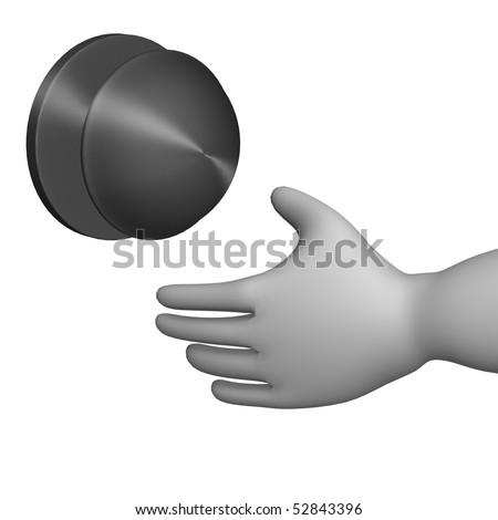 3d render of cartoon character with door knob - stock photo