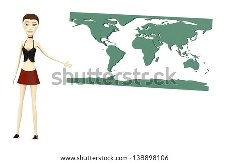 3d render of cartoon character with earth map