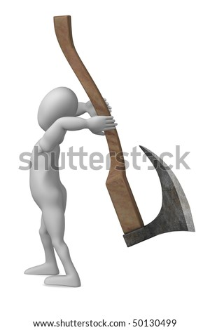 3d render of cartoon character with execution axe - stock photo