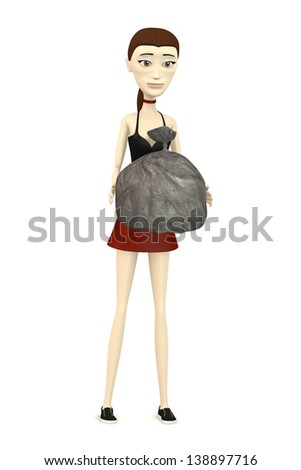 3d render of cartoon character with garbage bag