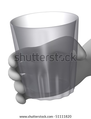 3d render of cartoon character with glass