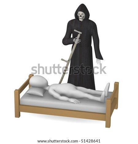 3d render of cartoon character with grim reaper