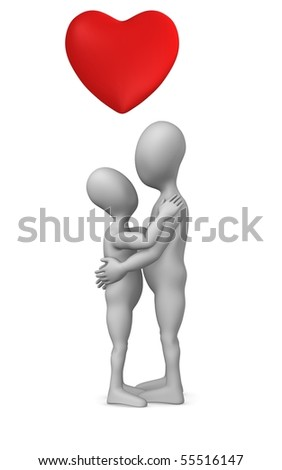 3d render of cartoon character with heart