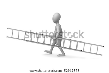 3d render of cartoon character with ladder