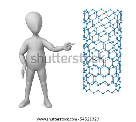3d render of cartoon character with nanotube - stock photo