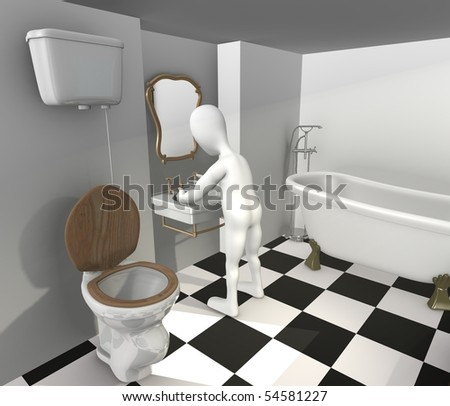 3d render of cartoon character with old bath - stock photo