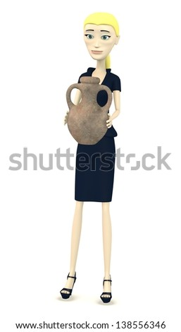 3d render of cartoon character with old vase