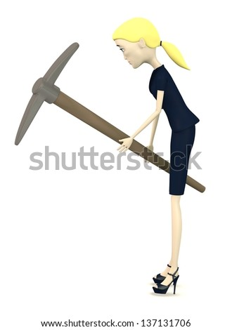 3d render of cartoon character with pickaxe