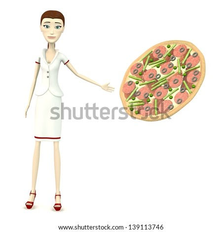 3d render of cartoon character with pizza - stock photo