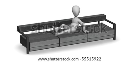 3d render of cartoon character with sofa