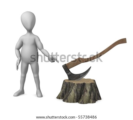 3d render of cartoon character with stump and axe - stock photo