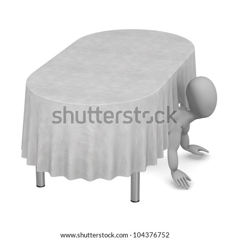 3d render of cartoon character with table and tablecloth