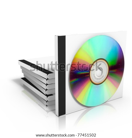 3D render of cd boxes with disc, isolated on white background - stock photo