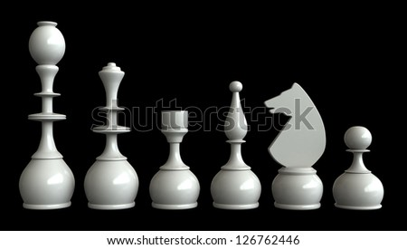 3d render of chess pieces isolated over black background - stock photo