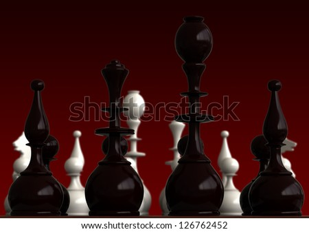 3d render of chess pieces on red background - stock photo