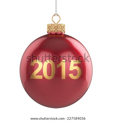 3d render of 2015 christmas ball isolated on white background