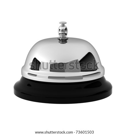 3d render of chrome reception bell - stock photo