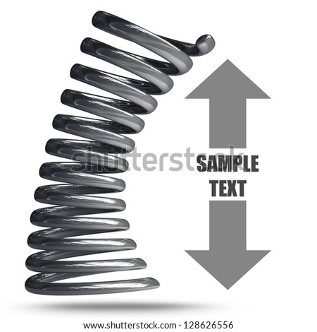 3d render of chrome spring isolated on white background  High resolution - stock photo