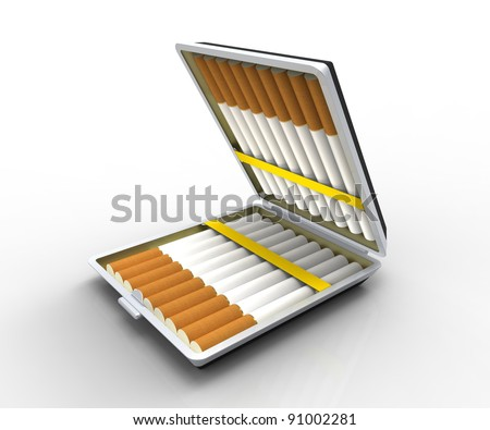 3d render of  cigarette case with cigarettes on a white background - stock photo