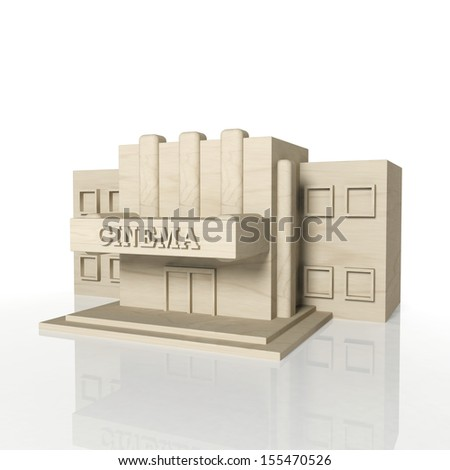 3D render of cinema building with reflection,isolated on white