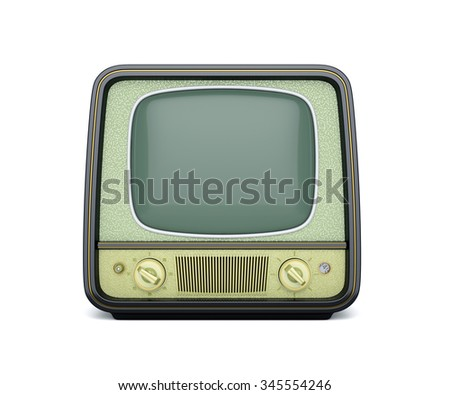 3d render of classic retro TV isolated on white background - stock photo