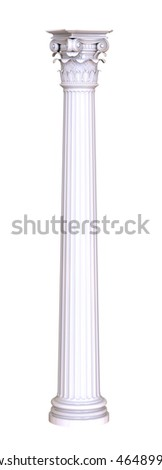 3d render of classic white column on a white background