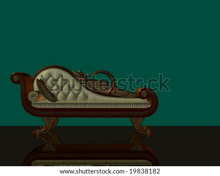 3d render of classical chaise longue with reflecting floor and green background - stock photo