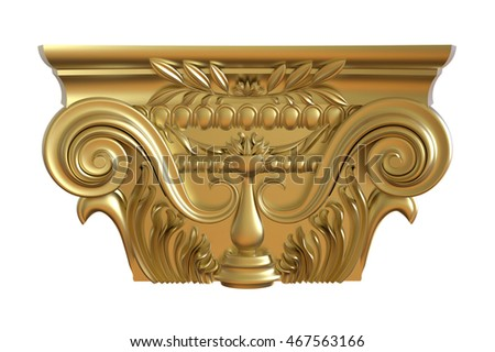 3d render of Classical gold column pedestal on a white background