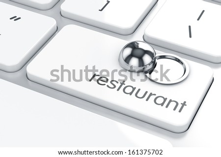 3d render of cloche icon on the keyboard. Restaurant concept  - stock photo