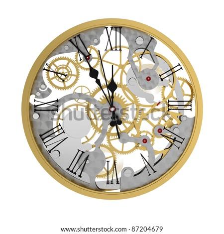 3d render of clock mechanism, five minutes to twelve - stock photo