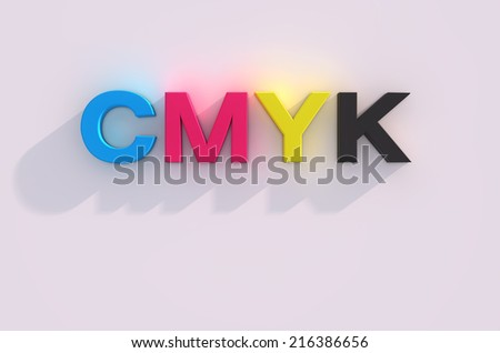 3d render of cmyk letters over white background with shadow - stock photo