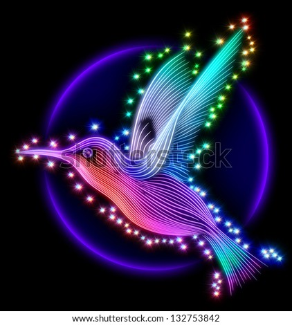 3d render of colibri bird - hummingbird striped silhouette with stars - stock photo