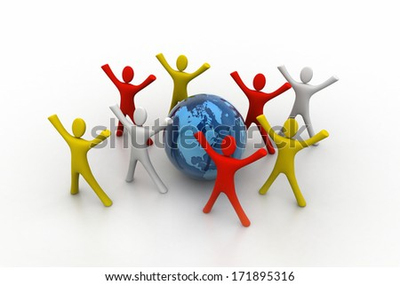 3d render of colored  people around globe - stock photo