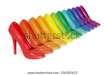 3d render of colorful high heels isolated on white background
