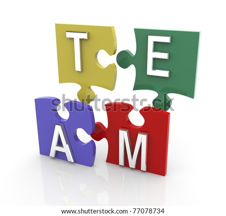 3d render of colorful puzzle pieces with team text - stock photo
