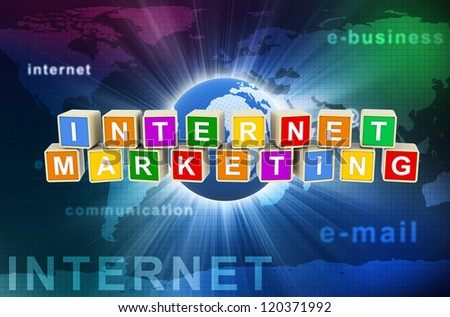 3d render of colorful text boxes internet marketing on hi-tech global communication background. - stock photo