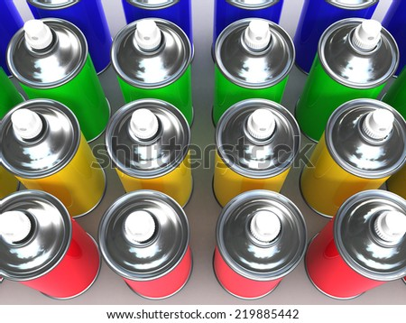 3d render of coloured spray cans - stock photo