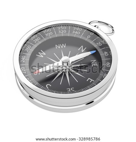 3d render of compass isolated on white background - stock photo