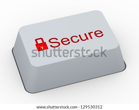 3d render of computer keyboard button with word secure and symbol of padlock - stock photo